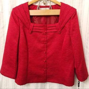 TAHARI ASL Crimson Red Suit Jacket size 16
